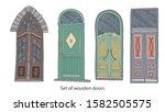 set of old estonian wooden... | Shutterstock .eps vector #1582505575