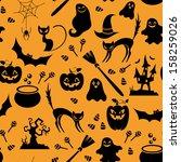 seamless orange and black... | Shutterstock .eps vector #158259026
