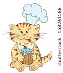 cartoon cat chef with cupcake   Shutterstock .eps vector #158261588