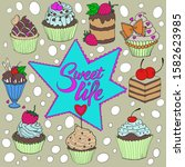illustration of confectionery   ... | Shutterstock . vector #1582623985