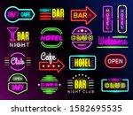 neon glow hotel. night... | Shutterstock .eps vector #1582695535