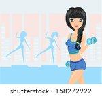 beautiful girl exercising in gym