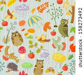autumn seamless pattern with... | Shutterstock .eps vector #158273492