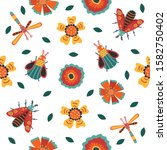 insect and floral background. ... | Shutterstock .eps vector #1582750402