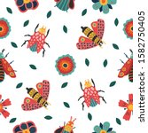 insect and floral background. ... | Shutterstock .eps vector #1582750405