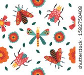 insect and floral background. ... | Shutterstock .eps vector #1582750408