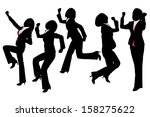 silhouettes of happy excited... | Shutterstock .eps vector #158275622