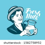 Beautiful Woman With A Jug Of...