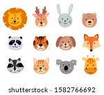 cute animal hand drawn faces... | Shutterstock .eps vector #1582766692