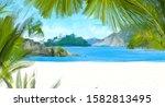 tropical island digital... | Shutterstock . vector #1582813495