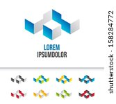 business icons set design - abstract 3d geometric shape - vector - stock vector