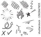 doodle set elements  black on...   Shutterstock .eps vector #1582867855