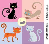 four cats and one mouse set | Shutterstock .eps vector #158289818