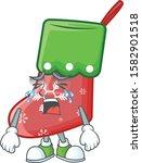 Sad Crying Santa Socks Cartoon...