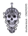 skull pendant day of the dead.... | Shutterstock . vector #158290595