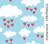clouds vector pattern with red... | Shutterstock .eps vector #1582906612