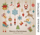 merry christmas  happy new year ... | Shutterstock .eps vector #1582974142
