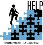 business man climbing problem... | Shutterstock .eps vector #158300552