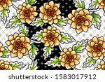seamless pattern with floral... | Shutterstock .eps vector #1583017912