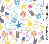 seamless summer pattern... | Shutterstock . vector #1583038882