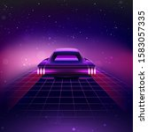 80s retro sci fi background... | Shutterstock . vector #1583057335