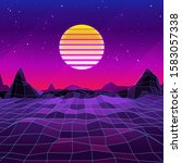 80s retro sci fi background... | Shutterstock . vector #1583057338