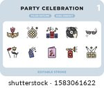 party celebration filled icons...