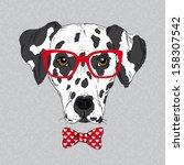 Stock vector hand drawn vector fashion portrait of dalmatian 158307542
