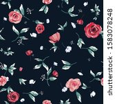 seamless pattern of red flowers ... | Shutterstock .eps vector #1583078248