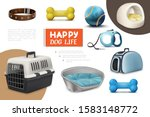 realistic dog items composition ... | Shutterstock .eps vector #1583148772