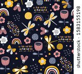 seamless pattern with flowers ... | Shutterstock .eps vector #1583155198