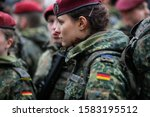 Bucharest, Romania - December 01, 2019: German female soldier is taking part at the Romanian National Day military parade. - stock photo