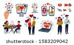 online dating big set. dating... | Shutterstock .eps vector #1583209042