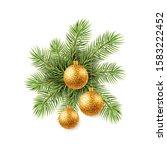christmas tree with golden... | Shutterstock . vector #1583222452