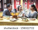 family enjoying traditional... | Shutterstock . vector #158322722