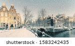 Winter Snow View Of Dutch Canal ...
