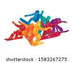 snowboard  snowboarders ... | Shutterstock .eps vector #1583267275