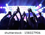 audience watching a rock show... | Shutterstock . vector #158327906