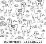 vector baby llama cartoons... | Shutterstock .eps vector #1583281228