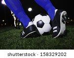 close up of feet kicking the... | Shutterstock . vector #158329202