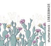 green cactus plants with pink... | Shutterstock .eps vector #1583308435