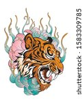 tiger head in roar with lotus... | Shutterstock .eps vector #1583309785