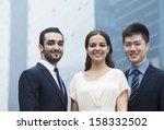 portrait of three smiling... | Shutterstock . vector #158332502