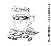 chocolate hand drawn vector... | Shutterstock .eps vector #1583356525