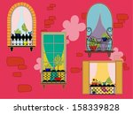 facade with colorful windows... | Shutterstock .eps vector #158339828