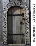 Wooden Door With Artful Wood...