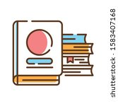 books stack color line icon....