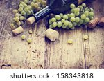 bottle of white wine  grape and ... | Shutterstock . vector #158343818