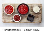 various sauces on white wooden... | Shutterstock . vector #158344832