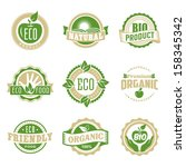 round eco green stamp label of... | Shutterstock .eps vector #158345342